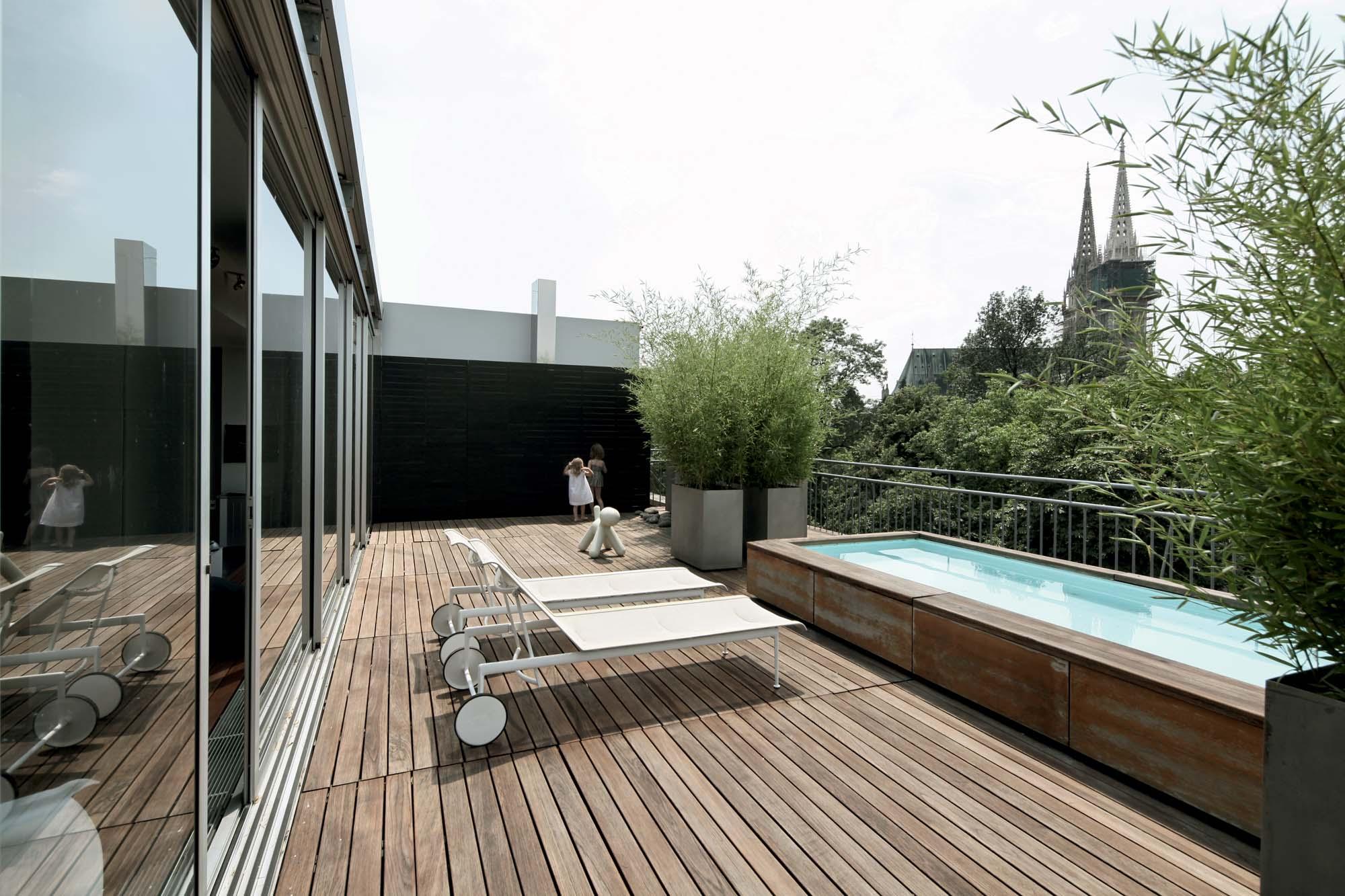 modern apartment building terrace